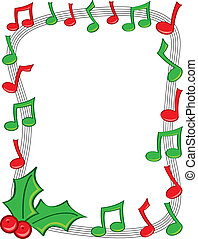 Holiday Music Border - A border made of red and green...