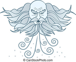 Old Man Winter - A cartoon image of a cloud-like old man...