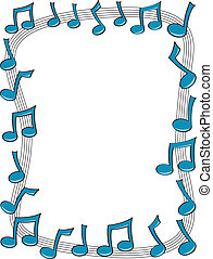 Music Note Border - A border made up of blue music notes...