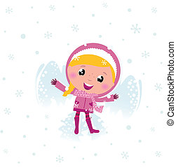 Little cute pink child making angel in snow