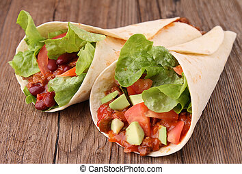 fajita burrito with beef and vegetables