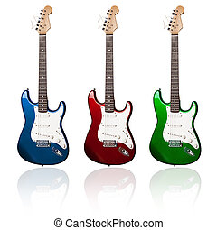 electric guitars - three electric guitars of different...