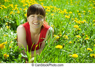 Happy   woman  in grass