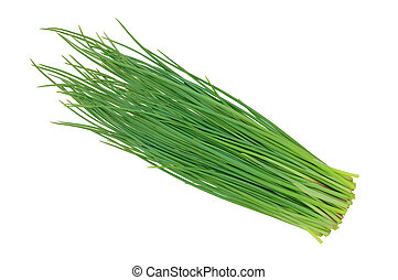 green onions leeks isolated on white background
