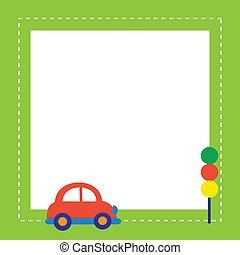 red car with traffic light , vector illustration