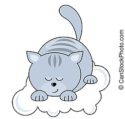 Small blue pretty cat sleeping on a cloud