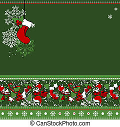 Christmas greeting card with stylized Christmas decorations