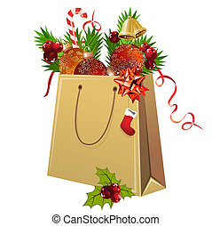 Paper bag full of Christmas balls and decoration on white