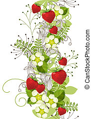 Seamless vertical floral pattern with wild strawberries