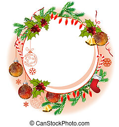 Christmas frame with balls, garland, bells and fir branches