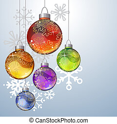 Christmas background with glass balls and contour snowflakes