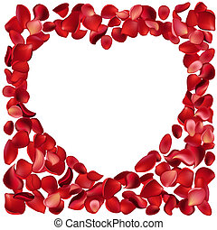 Blank frame made of red rose petals