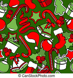 Seamless pattern with traditional Christmas decoration
