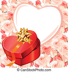 Heart-shaped frame and gift box. Background is seamless