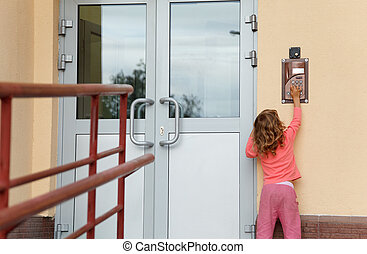 Little girl calling in on-door speakerphone what to get home...