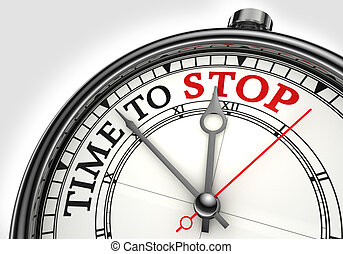 time to stop concept clock closeup on white background with...