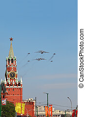 MOSCOW - MAY 9: Il-76, Tu-95ms, Mig-29 airplanes fly on...