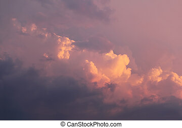 beautiful pink sky with big clouds, evening