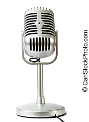plastic studio microphone metallic color on pedestal, front...