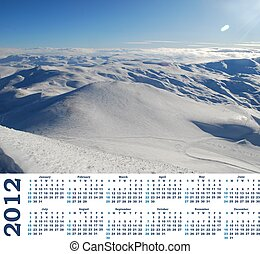 calendar 2012 with view of snow mountains in Turkey...