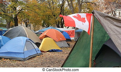 Canadian flag on tent.