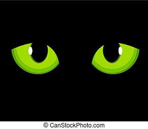 Cat eyes - Cat green eyes. Vector illustration