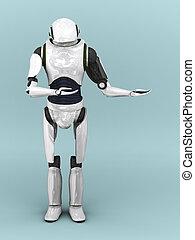 Artificial robot. - An artificial robot holding his arms...