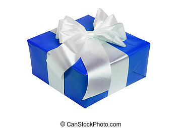 beautiful blue gift with white ribbon isolated on white