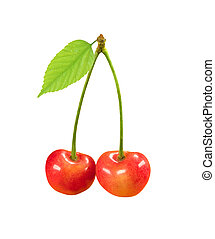 cherry fruit with green leaf isolated on white background