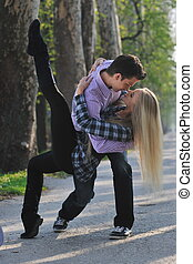 romantic couple in love outdoor - happy young romantic...