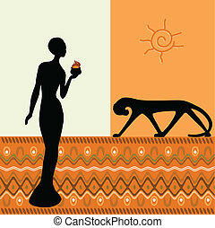 African Design with woman, panther and sun, the vektor...