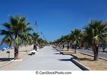 Wide road near beach with palms, lanterns and benchs on edge...