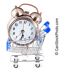 Old-styled alarm clock in small shopping cart.