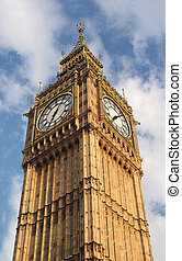 Big Ben is famous English clock chimes in Gothic style in...