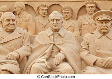 MOSCOW - SEPTEMBER 7: Sculpture politicians on All-Russian...