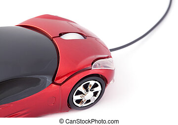 Computer mouse looking like small red sport car