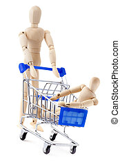 One wooden dummy rolls another in the shopping cart. -...