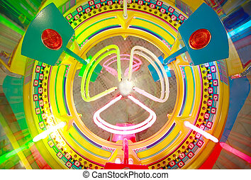 Close-up view of colorful electronic roulette in arcade...