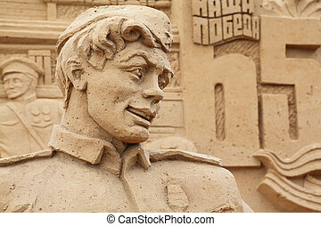moscou, -, septembre, 7:, sculpture, soldat, All-Russian,...