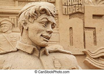 moscou, -, septembre, 7:, sculpture, soldat, All-Russian,...