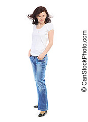 Full-length portrait of beautiful girl in jeans and white...
