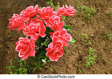 non-natural bouquet of red roses in ground on grave, plants