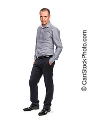Successful business man in shirt, full length portrait...