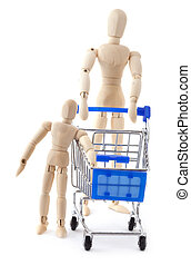 Family shopping concept Wooden dolls family go to the...