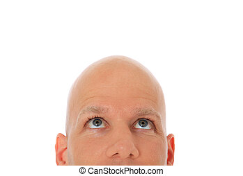 Head of bald man looking up All on white background
