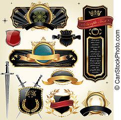 vector set: black gold-framed labels