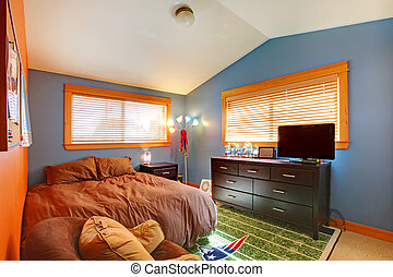 Kids biy bedroom with blue and brown - Boys child bedroom