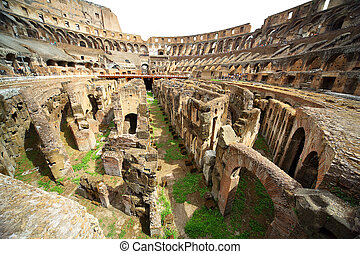 On first circle of arena in ancient Coliseum in Rome, Italy...