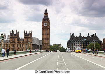 Westminster Cathedral and Big Ben clock tower - LONDON -...