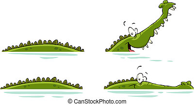 Crocodile on a white background, vector illustration